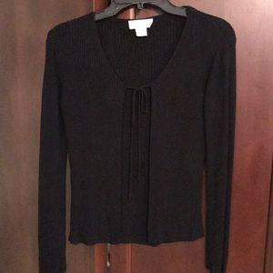 Express tie front ribbed cardigan size small